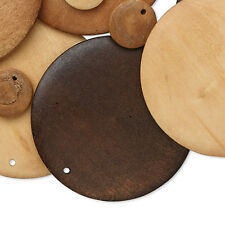 40 Assorted Size Blank Wooden Round Flat Disc Drop Charms from Boxwood Wood
