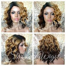 Short Wavy Beyonce Blonde Ombre Mixed Highlight Bob Full Wig Dark Root Heat Safe