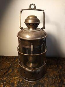 RARE Antique Nautical Brass Lantern HOP LEE & Co Hong Kong CLEAN condition