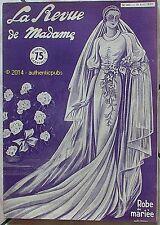 LA REVUE DE MADAME N° 401 DU 31 AOUT 1933 MODE ART DECO ROBE DE MARIEE MODE TBE
