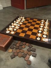 Victorian Rosewood & Satinwood Chess Board + Chess Pieces in Carved Wooden Box.