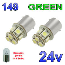 2 x Green 24v LED BA15s 149 R5W 8 SMD Number Plate Interior Bulbs HGV Truck