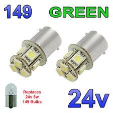 2 X Green 24v Led Ba15s 149 r5w 8 Smd número Placa Interior bombillas de vehículos pesados, Camiones