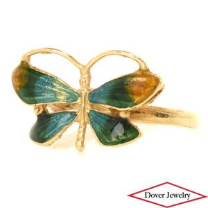 Estate Enamel 18K Gold Ombre Color Design Butterfly Ring NR