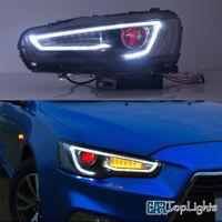 VLAND 2* Headlight For 2008-2017 Mitsubishi Lancer Evo X DRLDual Beam Demon Eye