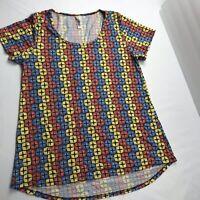 Lularoe Womens Shirt Geometric Sz S Red Blue Yellow