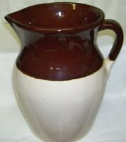Vintage Large Tan and Brown Stoneware Pitcher