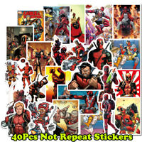40 Pcs Deadpool Marvel Sticker Skateboard Luggage Laptop Guitar Pack Decals Mix