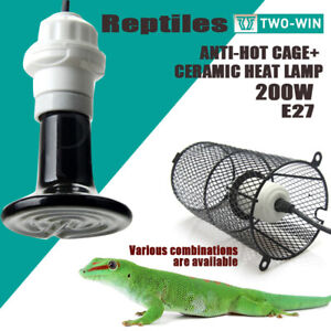 200W Reptile Heat Lamp Ceramic E27 + Anti-Hot Cage Holder Switch Pet Brooder AU