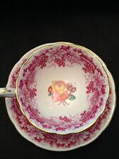 Paragon By Appt H.M. Queen England Bone China Mauve Grapes & Vines Cup & Saucer