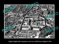 OLD LARGE HISTORIC PHOTO STAFFORD ENGLAND AERIAL VIEW OF THE PRISON c1950