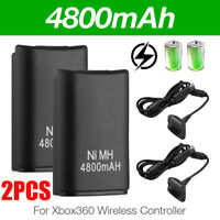 2X For XBOX 360 Wireless Controller Battery 4800mAh & USB Charging Charger Cable