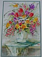 C. RAFFERTY SIGNED ORIGINAL WATERCOLOR PAINTING OF STILL LIFE FLOWERS
