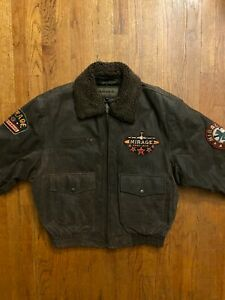 L Vintage Men's Mirage Leather Bomber Jacket 1997 Ace Sherpa Collar Patches 90's