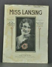 "Antique Vtg 1927 ""Miss Lansing"" MI by E. E. Fraim Sheet Music Eric Elvis Fraim"