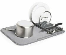 Umbra UDRY DRYING MAT and DISH RACK 2-in-1 Dishrack Drainer Tidy CHARCOAL Grey