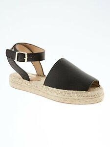 Banana Republic Women's Black Leather Peep Toe Espadrille Sandals Shoe 6 NWOT