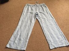 M&s Pure Linen Blue Mix Pants Trousers  Size 14 Long Bnwt Free Sameday Postage