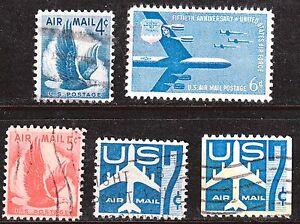 Scott C48-C52 Used Airmail, 1954-1958 Stamps