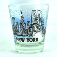 New York City NYC WTC Vtg Shot Glass Statue of Liberty Manhattan Skyline Taiwan