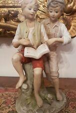 """Statuina capodimonte """"GLI STUDENTI"""" CERAMICA MAIOLICA BISQUIT STATUA ARTE Epoca"""