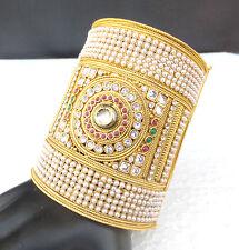 Asian Indian Polki Cuff Bangle Ethnic Fashion Jewelry Golden Pearl Kara Bracelet