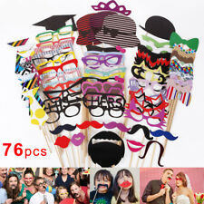 76Pcs Photo Booth Photobooth Wedding Party Props Moustache Lips On a Stick Prop
