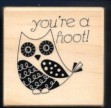 OWL YOU'RE A HOOT Wildlife Bird Design Card NEW Wood Mount CRAFT RUBBER STAMP