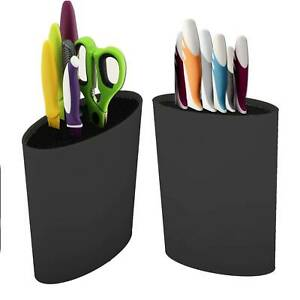 Black Oval Knife Block Black Knife Block Knife Rack Knife Storage Knife Holder