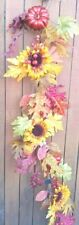 "60"" Dahlia Pumpkin Oak Leaves Garland and Berries Orange Yellow Green Wreath"