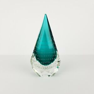 Mid Century Murano Paperweight Teardrop Faceted Sommerso Teal Green Vintage