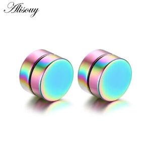 Unisex Black Steel Magnetic Non-piercing Clip on Cheater Fake Ear Stud Earrings