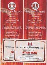 LEYTON ORIENT 2012-13 ORIGINAL HAND SIGNED LARGE AWARDS MENU & TICKETS 22 X SIGS