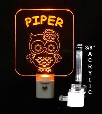 Kids Owl Led Night Light- Personalized, Bird, Nursery, Animal