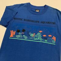 Vintage 90s Mystic Marinelife Aquarium Coral Reef T Shirt Adult S Blue Fish USA