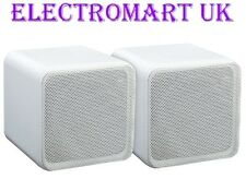 SURROUND SOUND WALL CEILING BOOK SHELF CUBE SPEAKERS WHITE