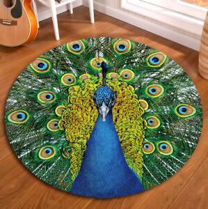 Beautiful Feather Peacock Non-slip Yoga Mat Room Floor Round Carpet Area Rugs