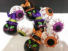 (9) Halloween Black Cat Glitter Eyeball Ornaments Decorations 3.25""