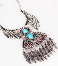 Ethnic Fashion ancient Silve chain Bib Statement Chunky Leaf Pendant Necklace