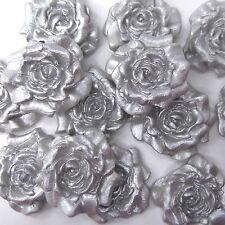 12 Light Silver Pearl Sugar Roses edible flowers wedding cake decorations
