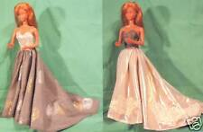 """Reversible Gold & Gray Gown for 18"""" Supersize Barbie or Tiffany Taylor SSMS14c"""