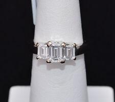 1.35cttw 14K White Gold 3 Stone Emerald Diamond Engagement Ring VS1/F
