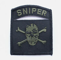 SNIPER SKULL CROSS BONES RIFLE HAT PATCH US ARMY NAVY AIR FORCE MARINES USCG WOW