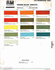 1974 INTERNATIONAL TRUCK Color Chip Paint Sample Brochure/Chart