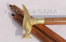 Antique Brass Bird Head Handle Cane Vintage Black Wooden Walking Stick Gift