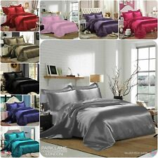 6PCS SATIN COMPLETE BEDDING SET BEDROOM DUVET COVER FITTED SHEET 4 PILLOW CASES