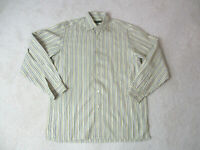 Ermenegildo Zegna Button Up Shirt Adult Large Brown Green Striped Long Sleeve *