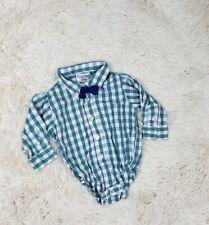 Kitestrings Baby Boys Sz 3/6M Button Down Shirt Green Plaid Long Sleeve Bow Tie
