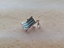SILVER PLATED ENAMEL BLUE WHITE STRIPE 3D CLIP ON HOLIDAY DECK CHAIR CHARM