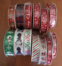 "39 Yds Christmas Ribbon Lot 7/8"", 5/8"", 3/8"" Winter / Holiday New (13 spools)"